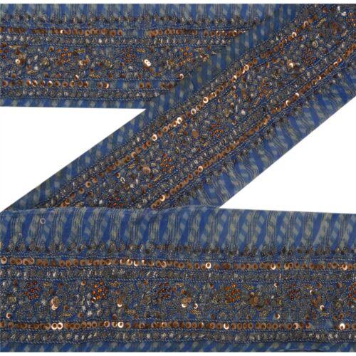 Sanskriti Vintage Decor  Sari Border Hand Beaded Woven Sewing Blue Craft Lace