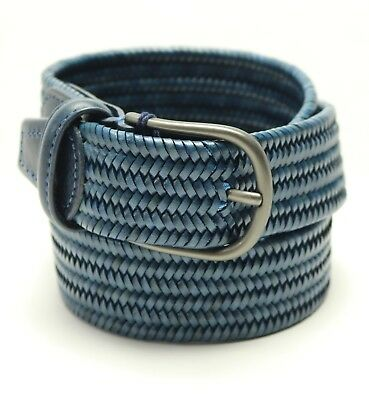 $185 New Mens Anderson/'s Leather Woven Stretch Blue Belt Made In Italy 34