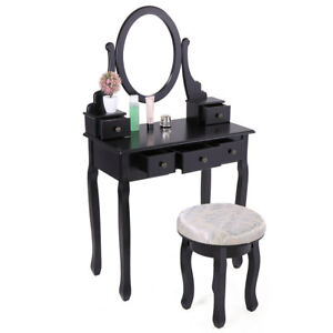 5 Drawers Vanity Table Set with Mirror and Cushioned Stool Makeup Dressing Table