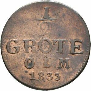 Oldenburg 1/2 Grote Paul Friedrich August 1835 Kupfer #497
