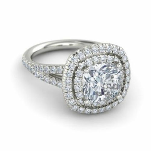 2.50 Ct Solitaire Diamond Engagement Ring 14K White gold Cushion Cut Size 6 7 8