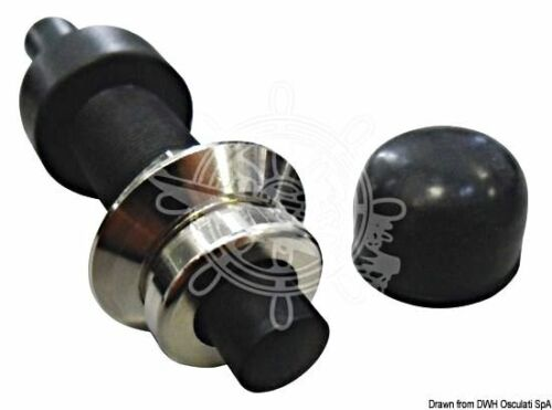 Osculati Nylon Black Push Button with Chromed Brass Ring and Nut