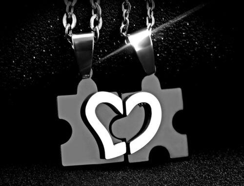2 PARTNER KETTEN LOVE PUZZLE Pärchenkette Anhänger Puzzleteile Herz Schmuck Neu