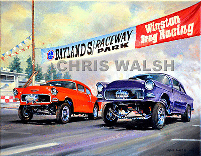 Drag Racing action prints...55 Chev Gassers pair off at Fremont, CA