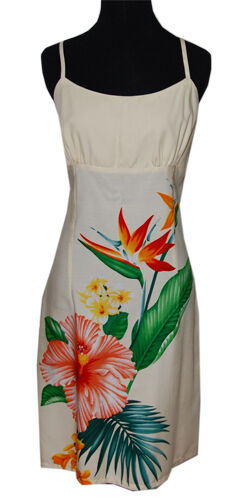 Hawaiian Short Peach Hibiscus Floral and Bird Of Paradise Spaghetti Dress-XS-2XL