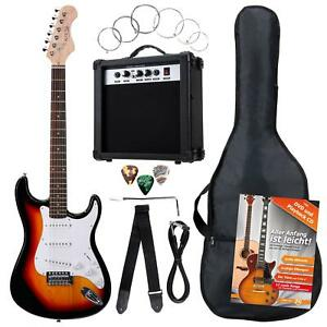 Guitarra-Electrica-Pack-Amplificador-10W-Cuerdas-Plectros-Cinturon-Sunburst-Set