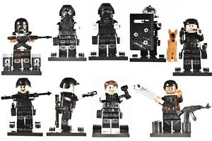 Custom-SET8pcs-Ghost-SWAT-Team-MILITARY-Soldier-Weapon-WW2-City-Minifigure-Lego