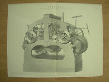 ANTIQUE 1880 VICTORIAN PRINT - HOROLOGY - TURRET CLOCK BY COOKE & SONS OF YORK
