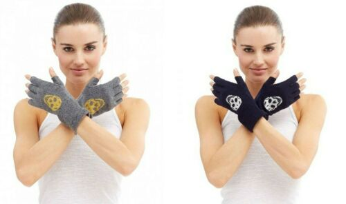 Grey /& Navy $127 NWT Skull Cashmere Fingerless Cashmere Gloves