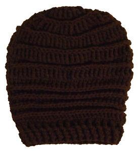 Handmade Womens Brown Crochet Beanie Extra Slouchy Hat O S Cali Love ... 9ef349efe