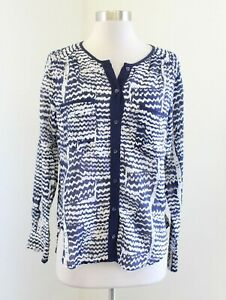 Trina Turk Blue White Printed Long Sleeve Button Front Blouse Shirt Silk Size S