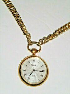 "Estate DESIGNER Carolee Quartz Pocket Watch w/31"" Chain QUALITY needs battery"
