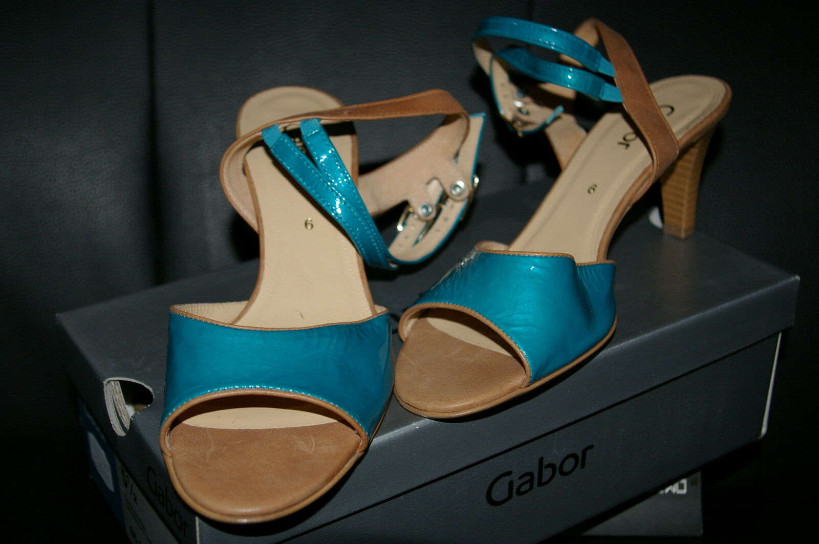 Gabor Strappy Sandals  Patent Leather Turquoise bluee Size 39 1 2 NEW  REAL LEATHER