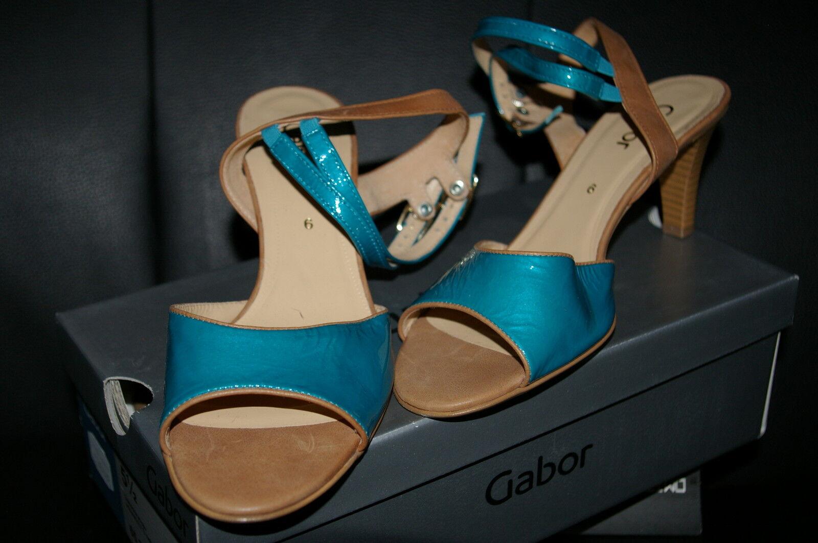 * Gabor Cinturino-Sandali * 1/2 pelle verniciata-Turchese-Blu Tg. 39 1/2 * nuovo