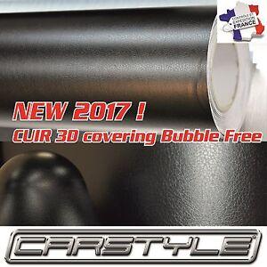 CARSTYLE CUIR 3D film vinyle rouleau 152x100cm covering Bubble Free NOIR