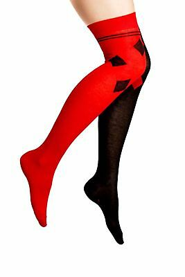Ladies Harlequin Red and Black with Diamonds at top Over Knee Socks shoe 4-8