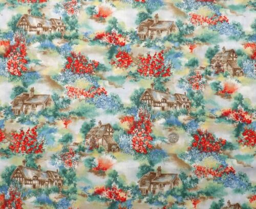 Country Cottages and gardens fq 50x56 cm F945-1 100/% Cotton A quiet place