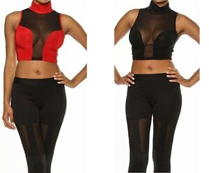 SEXY RED BLACK SHEER MESH SLVLESS SOLID TURTLE NECK CROP ...