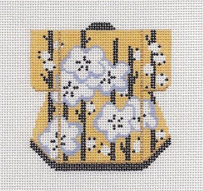 LEE Oriental Peony with Gold Petite Kimono handpainted Needlepoint Canvas