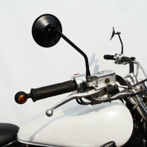 Kleine runde Motorrad Bullseye Lenkerendenblinker schwarz für vorne und hinten