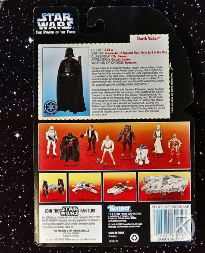 dans son carton presque comme neuf Kenner Action Figure 1995 Star Wars Red Power of the force 2 Darth Vader court Saber En parfait état