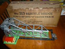 Vintage Postwar Lionel #313 Bascule Bridge in Original Box w/Insert & Bracket