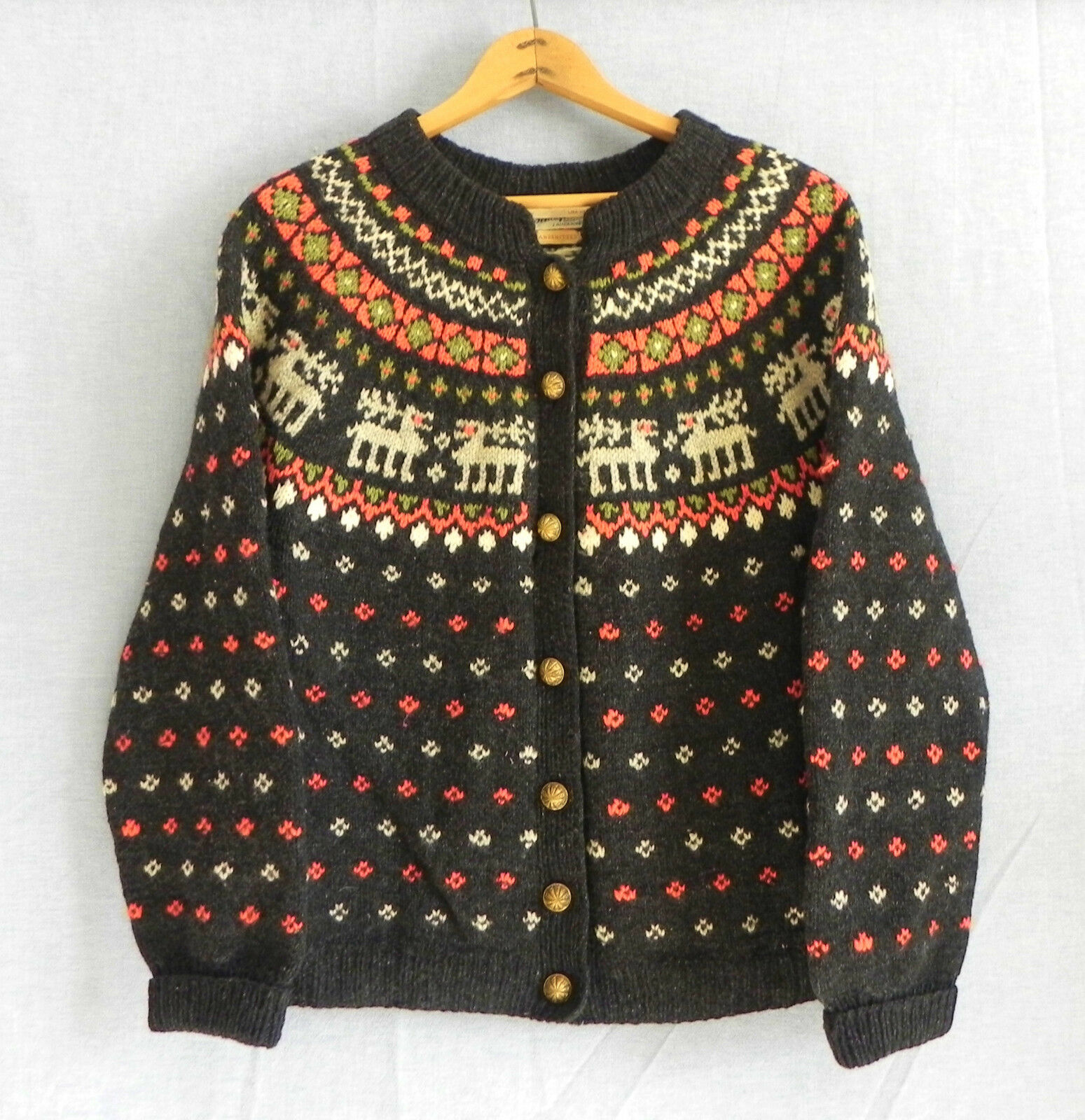Vtg Schaefer Hand Knitted Cardigan Wool Nordic Multi-color Button Down Size L