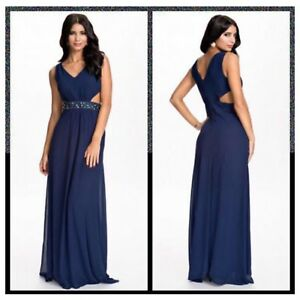 wide selection best site official price Details about Ex Nelly Brand Waist Trimmed Navy Maxi Dress. Size Uk 10