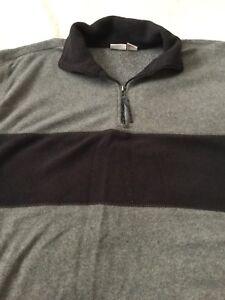 Pro-Spirit-Fleece-Pullover-Gray-Black-1-4-Zip-Front-Pockets-Size-M