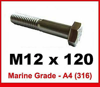 HEXAGON BOLT M12 X 150 316 MARINE GRADE STAINLESS X 2 NUT /& WASHERS- A4