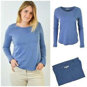 Famosa-marca-de-Mujer-Azul-Algodon-Cuello-Redondo-Top-Ribete-de-Encaje-manga-larga-camisetas