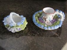 GERMAN ELFINWARE CANDLE HOLDER & SMALL HANDLED BASKET- MINT- WITH SPINACH