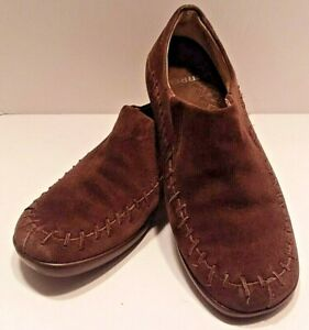 Sz-7-Merrell-Wild-Senna-Brown-Leather-Loafer-Shoes-Suede-moccasins-flats