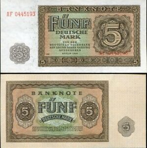 GERMANY-DEMOCRATIC-5-MARK-1948-P-11-UNC
