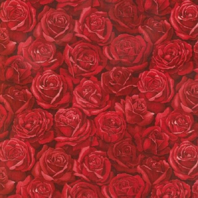 Fat Quarter Roses Are Red Cluster Flowers Cotton Quilting Fabric Nutex 88950