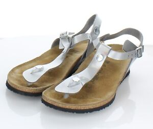 J19  $120 Women's Sz 39 M Papillio By Birkenstock Ashley T-Strap Wedge Sandal