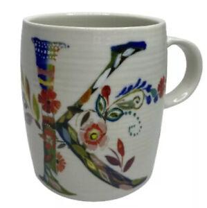 """Starla M. Halfmann Anthropologie Floral Letter Initial Monogram """"K"""" Mug Cup"""