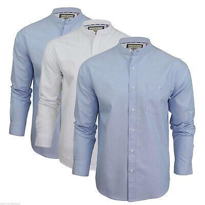 Mens Plain Shirts Brave Soul Long Sleeved Grandad Collar Button Fashion Casual