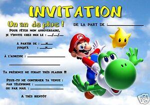 Détails Sur 5 Ou 12 Cartes Invitation Anniversaire Mario Ref 298