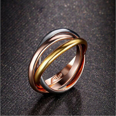 Damen Luxus Ring 3in1 Tricolor Triple Weißgold Gelbgold Rotgold Plattiert 16 Mm
