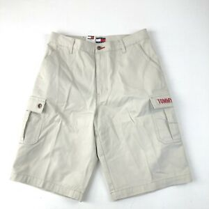 Mens-NWT-Tommy-Hilfiger-Lt-Beige-Spell-out-Full-Fit-Surplus-Shorts-Sz-33-AS-IS