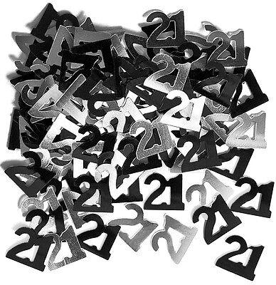Black & Silver Sparkle Happy 21st Birthday Confetti Foil Sprinkles