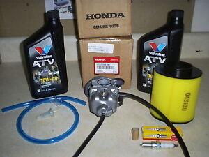 genuine honda oem recon 250 carburetor air fuel filter 2qt oil plugimage is loading genuine honda oem recon 250 carburetor air fuel