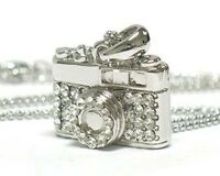Crystal Camera Pendant Necklace White Gold Plated