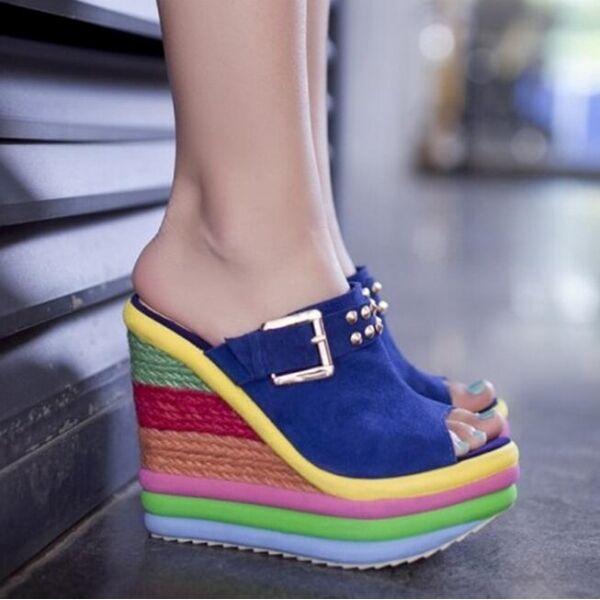 Sandalias de mujer zapatillas azul Colorido zuecos de cuña 14 cm elegantes