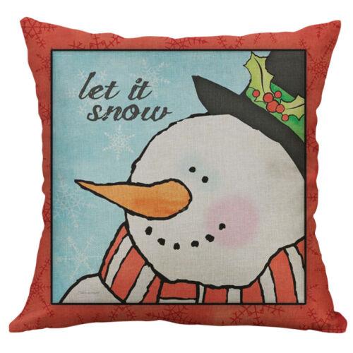 "18/"" Cotton Linen Printing merry christmas snowman Home Decoration pillow case"