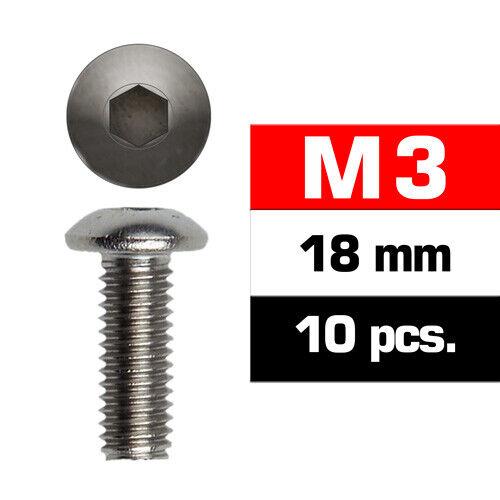 Ultimate RC Vis à Tête Ronde M3x18mm 12.9 (10) Button Tête Six Pans Creux