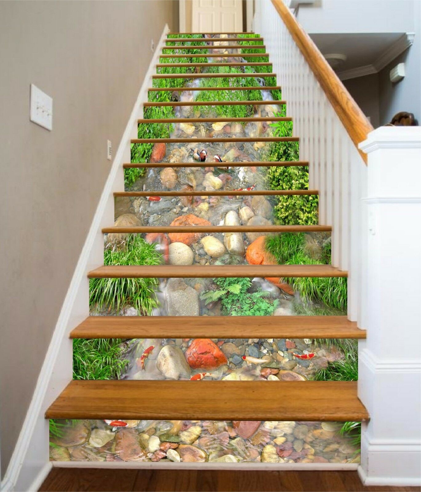 3D Creek Carp 857 Stair Risers Decoration Photo Mural Vinyl Decal Wallpaper AU