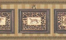 Wallpaper Border Framed Leopard Portraits With Leopard Print On Gold Stripe