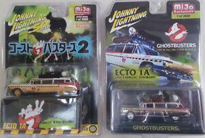 Johnny-Lightning-1-64-GHOSTBUSTERS-ECTO-1A-JLCP7026-amp-JLCP7204-2-Cars-Set